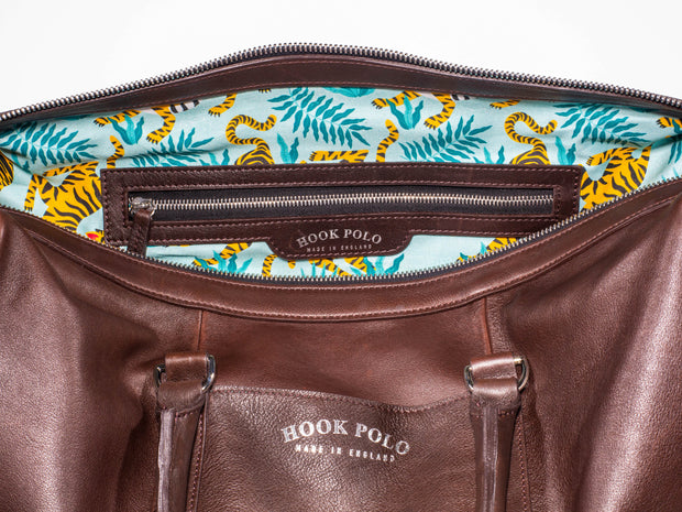 Brown Leather Holdall Bag - Tiger Print