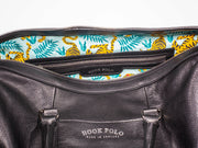 Black Leather Holdall Bag - Tiger Print