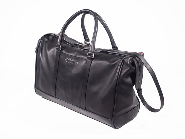Black Leather Holdall Bag - Crocodile Print