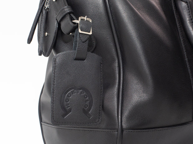 Black Leather Holdall Bag - Elephant Polo Print