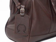 Brown Leather Holdall Bag - Elephant Polo Print