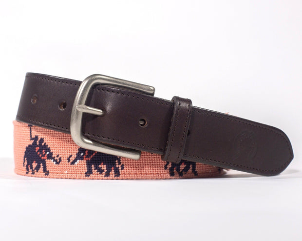 Needlepoint Belt - Elephant Polo