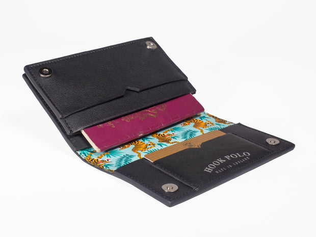 Travel Wallet - Black Leather Tigers
