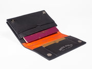 Travel Wallet - Black Leather Crocodiles