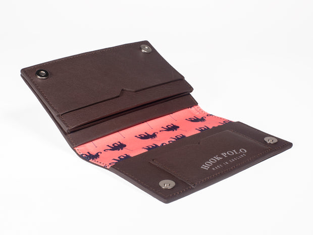 Travel Wallet - Brown Leather Elephants