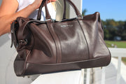 Brown Leather Holdall Bag - Crocodile Print