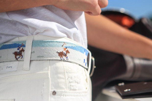 Needlepoint Belt - Snow Polo
