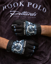 Digital Grey - Black Leather Sports Polo Gloves