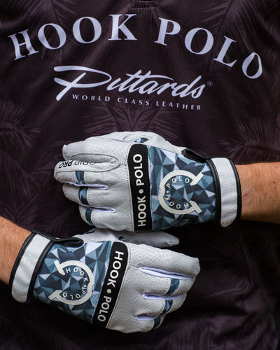 Digital Grey - Pearl White Leather Sports Polo Gloves