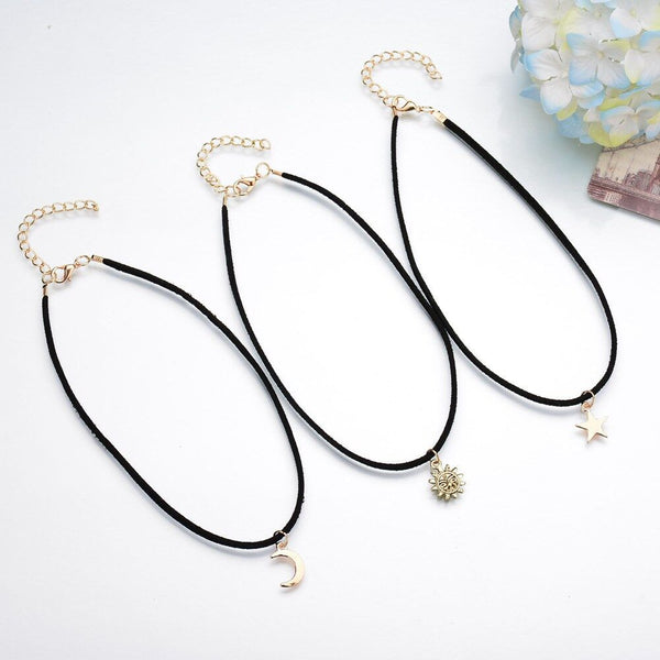 Star-Moon-Sun Necklace Set