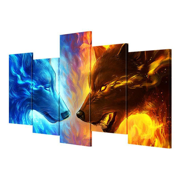 Fire-Ice Wolf Canvas