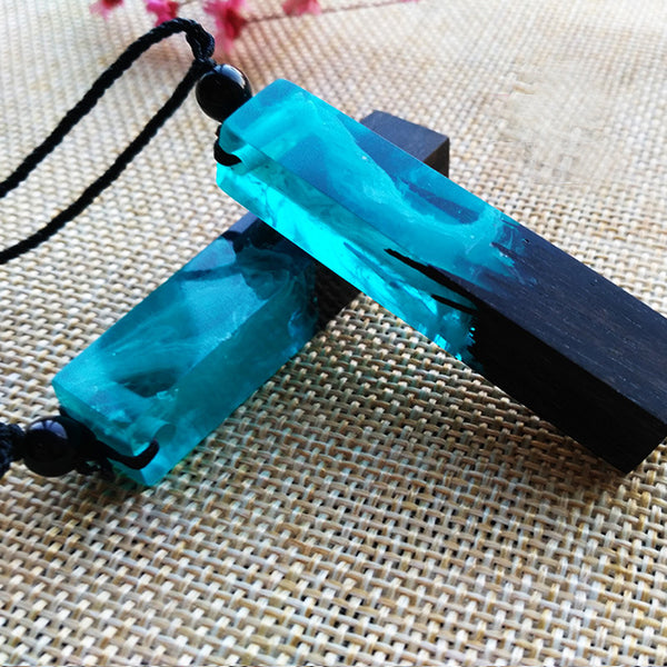 Blue Magic Wood Necklace