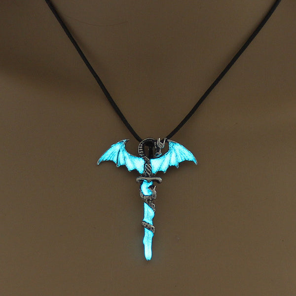 Glow In The Dark Dragon Sword Necklace