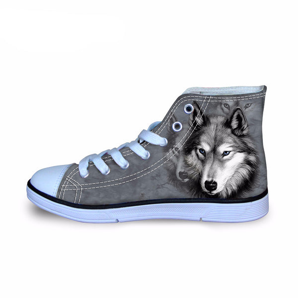 Wolf Print High Top Shoes