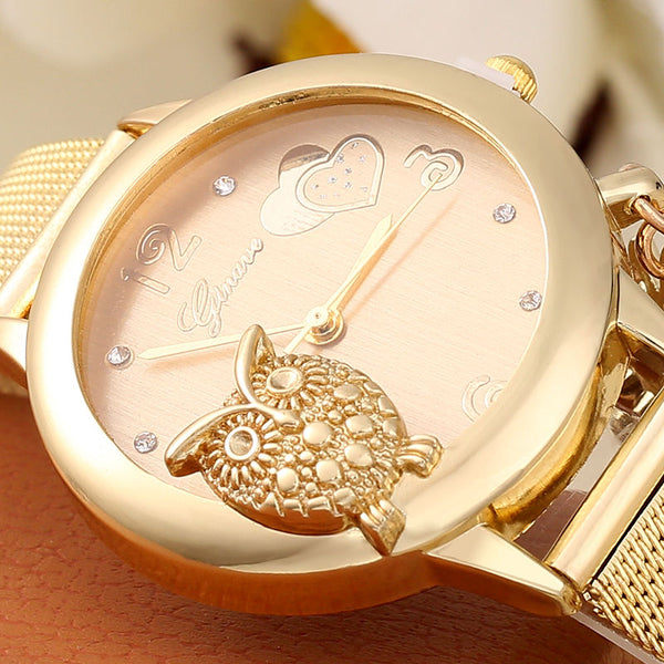 Golden Owl Wrist Watch