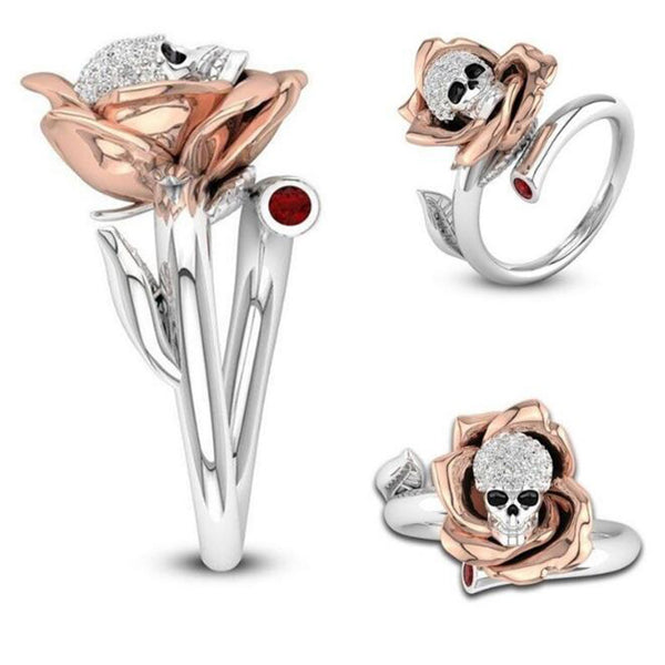 Flower Skull Wrap Ring