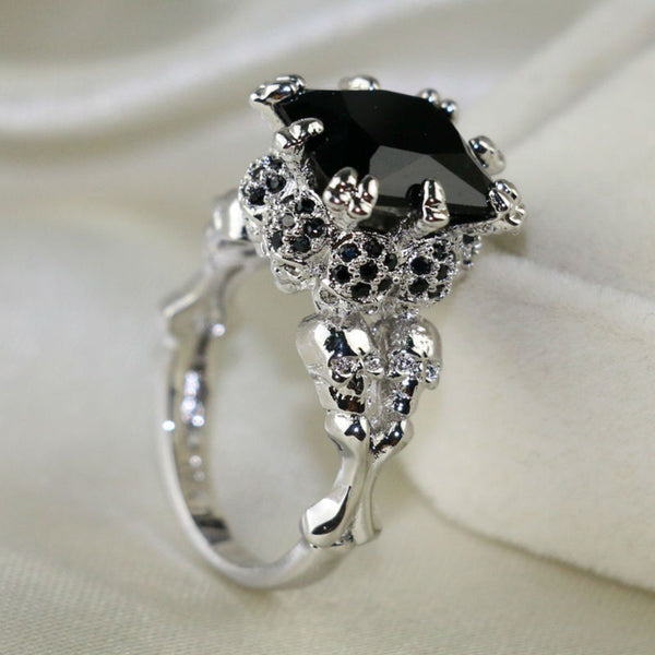 White Fire Skull Ring