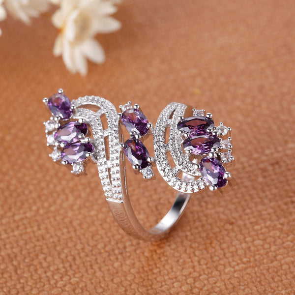 Amethyst Whirl Ring