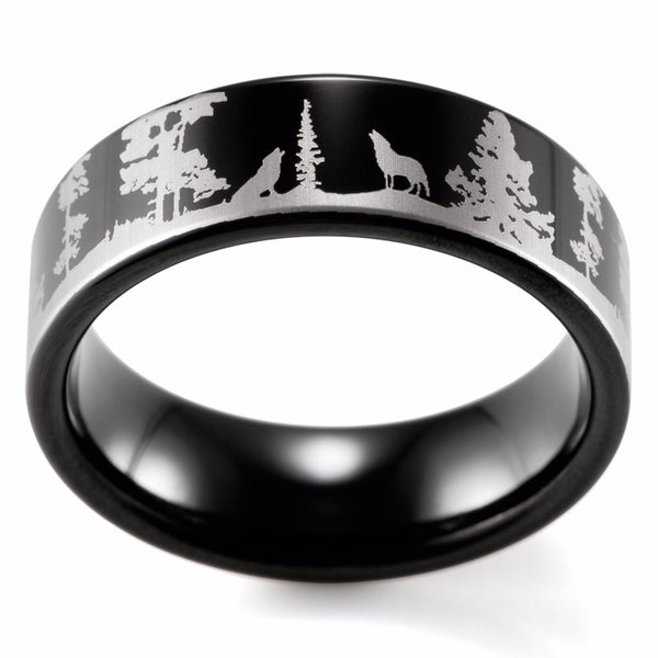 Engraved Wolf Ring
