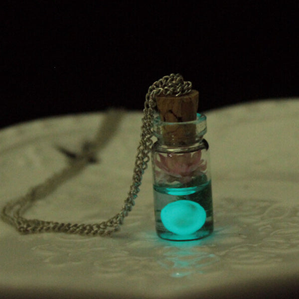 Glow In The Dark Wish Bottle Necklace