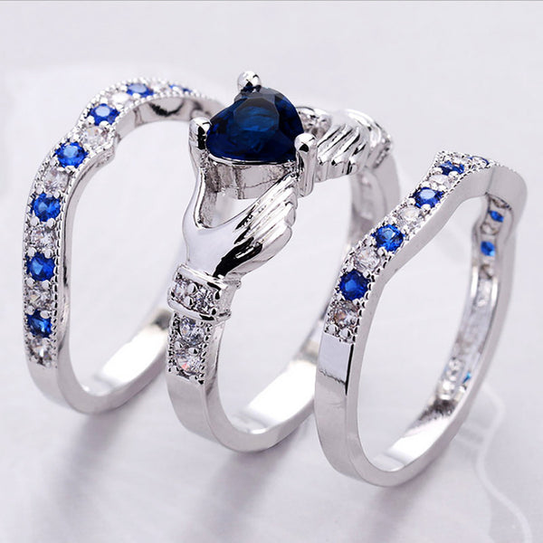 Blue Claddagh Ring Set