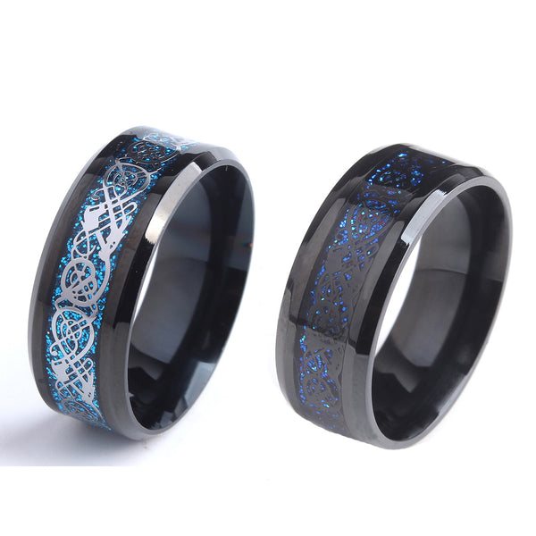 Blue Fire Dragon Ring