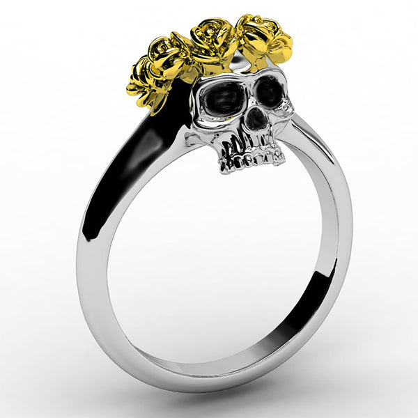 Flower Crown Skull Ring