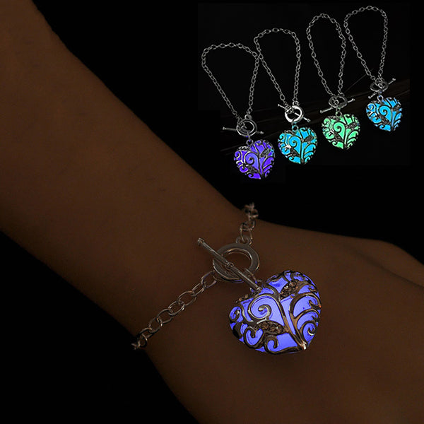 Glow In The Dark Heart Bracelets