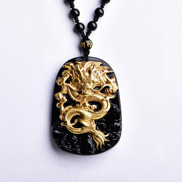 Gold Obsidian Dragon Necklace