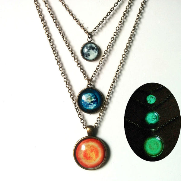 Glow in the Dark Orbit Necklace Set