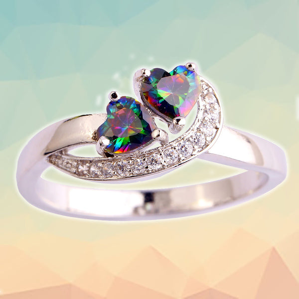 Topaz Double-Heart Ring