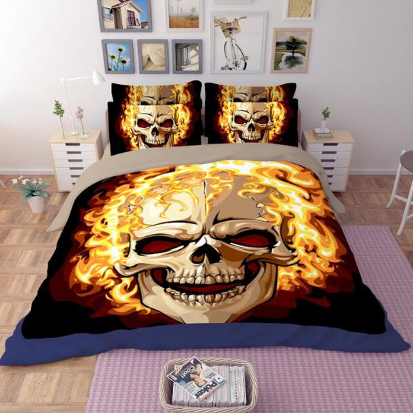 Fire Skull Bedding Set