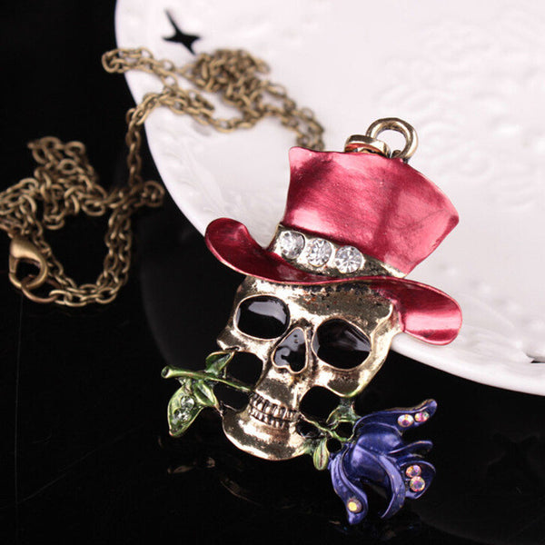 Top Hat Skull Necklace