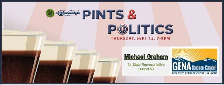 9/15 7-9pm  Pints and Politics