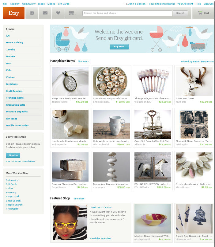 We're featured on the ETSY Front Page!!