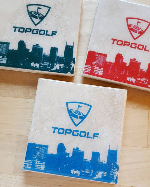 Custom Business Logo Coasters by Ink the Print Topgolf