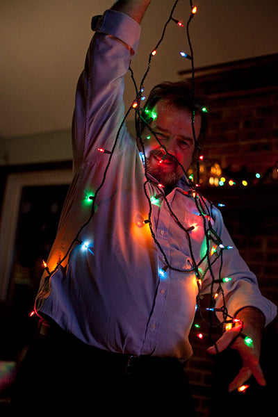 Dad with Christmas Lights