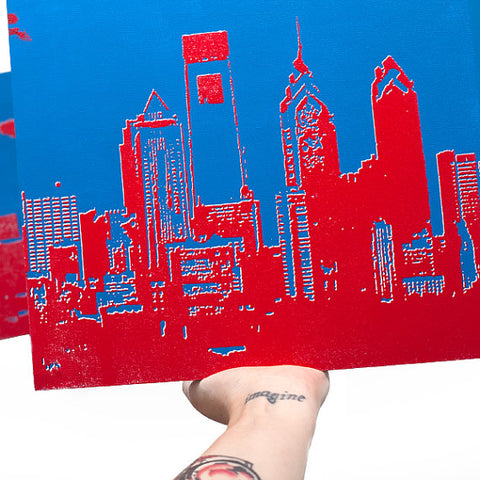 Philadelphia Skyline Wall Art Red White and Blue