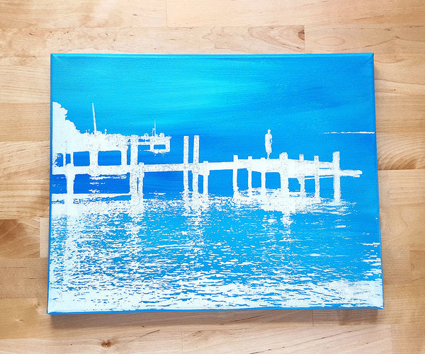 Blue and White Dock of the Bay Canvas Art