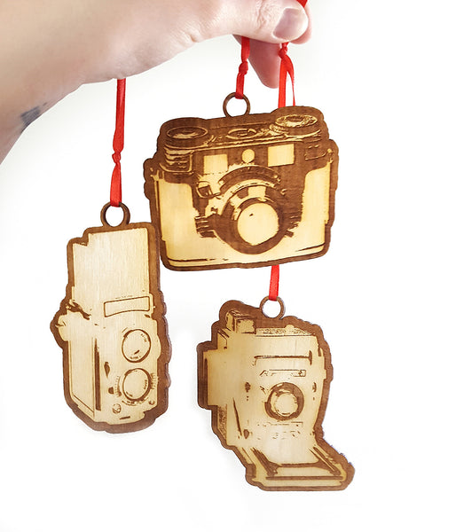 Wood Camera Ornament Set by Ink the Print