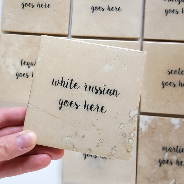 White Russian Coaster by Ink the Print