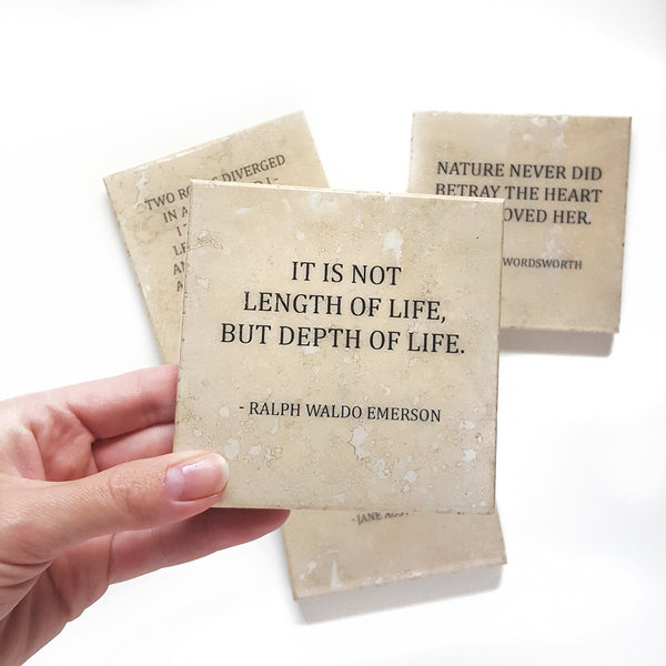 Ralph Waldo Emerson Coaster with Life Quote by Ink the Print