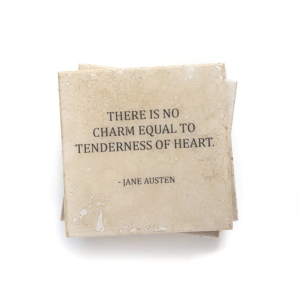 Jane Austen Heart Quote on Coaster by Ink the Print