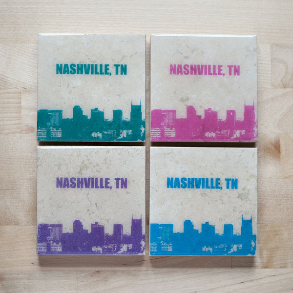 Personalized City Skyline Coaster Set