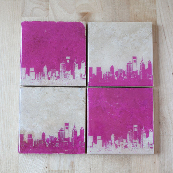 Philadelphia Skyline Coaster Set Pink and White