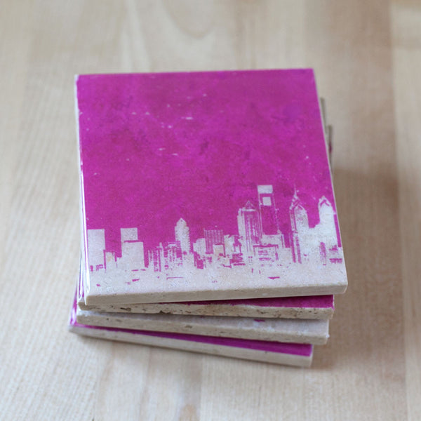 Philadelphia Coasters Pink and White