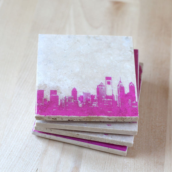 Pink Philly Coasters
