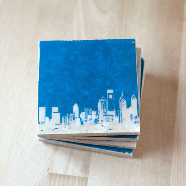 Blue and White Philly Coasters