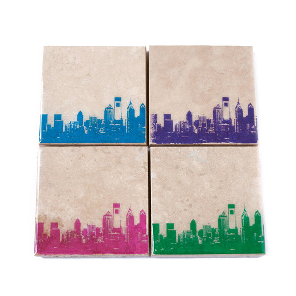 Philadelphia City Skyline Coaster Set