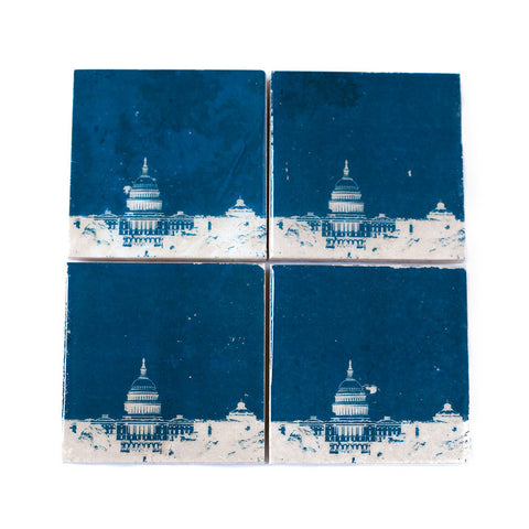 Washington DC Skyline Coaster Set Navy and White